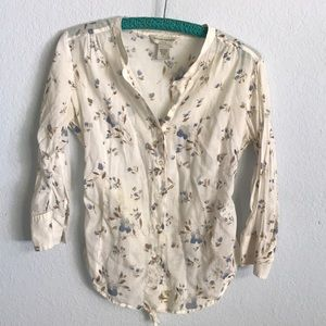 Banana republic floral cotton blouse w tie